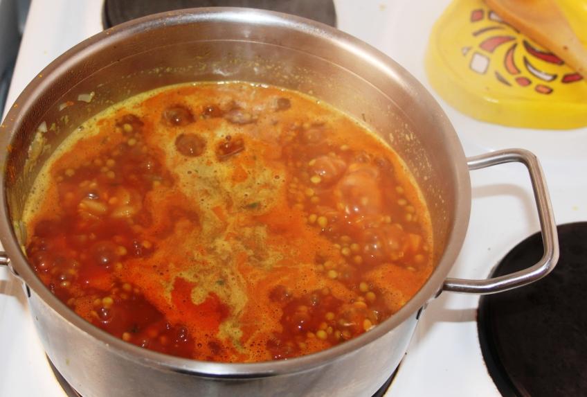 Cozinhando as lentilhas